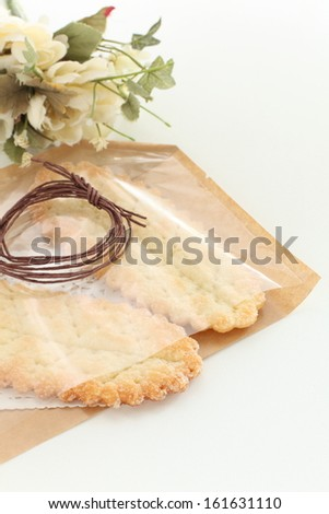homemade bakery leaf pie in gift bag for food package image