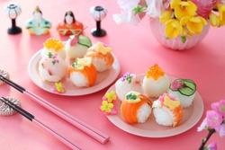 Homemade ball-shaped sushi for Japanese doll's festival.