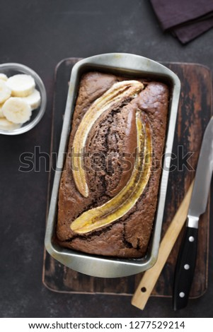 Homemade Banana Bread on rustic background, copy space. Healthy banana bread or cake for breakfast, top view. #1277529214