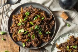 Homemade Barbecue Korean Beef Bulgogi with White Rice