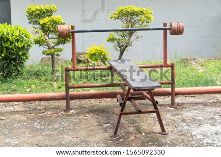homemade barbell Street workout. Exercise equipment used in weight training