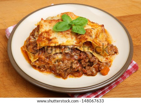 Homemade beef lasagna made to a traditional recipe.