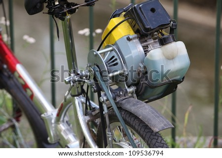 homemade, bicycle with a motor of the lawnmower, fragment