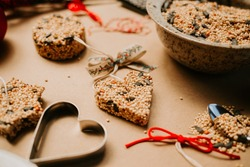 Homemade Birdseed Christmas Ornaments tied with Ribbon