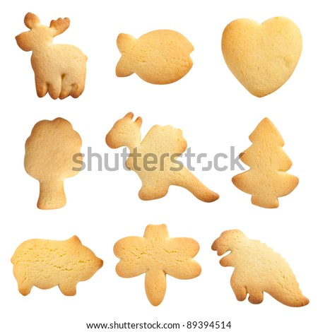 Homemade Biscuit collection isolated on white background. Different shapes.