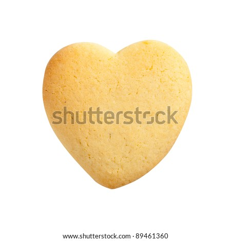 Homemade Biscuit isolated on white background. Heart shape.