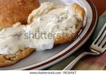 Homemade biscuits and gravy - stock photo