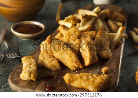Homemade Breaded Chicken Tenders with Fries and BBQ Sauce