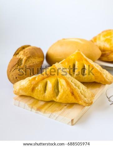 Homemade breads or bun on white background , breakfast food