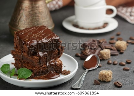 Homemade brownies with coffee,chocolate and caramel. American dessert. Selective focus