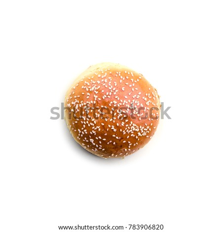 Homemade burger bun isolated on white background. Food photography