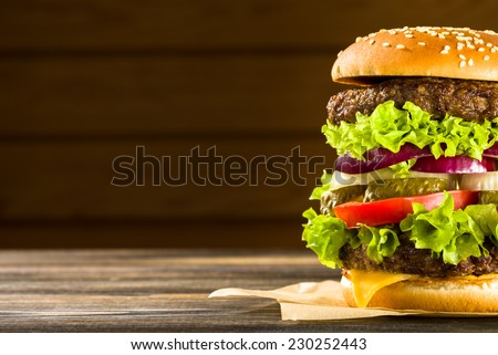 Homemade burger on the wooden table