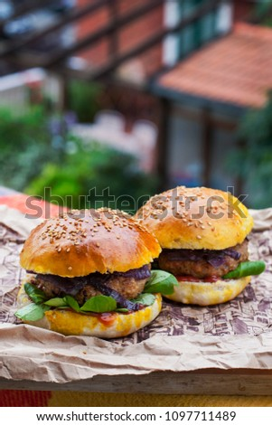 Homemade burgers with homemade bread. #1097711489