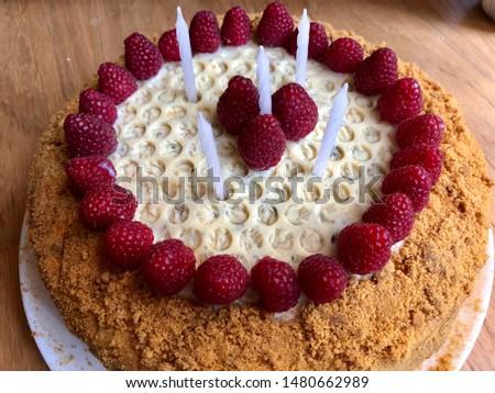 Homemade cake on a plate, honey cake, homemade cakes