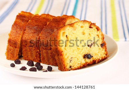homemade cake on white background