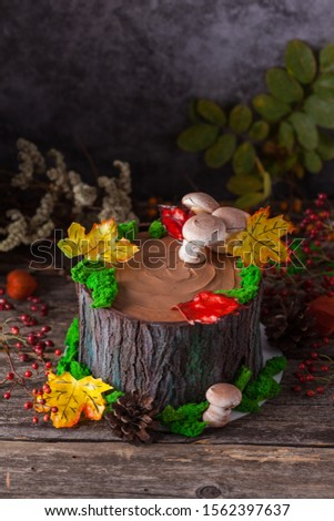 """Homemade Cake """"The chocolate stump with moss"""". Log cake tree stump cake. Perfect for woodland party or lumberjack party or even Father's Day!"""