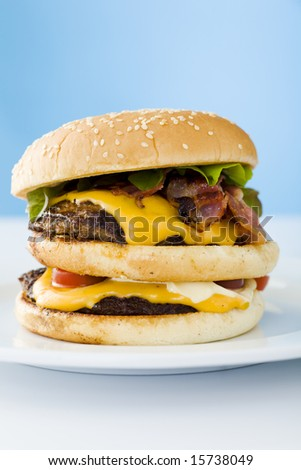 Homemade cheese burger on the plate over blue background
