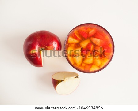 Homemade cherry jelly with apples, view from above #1046934856