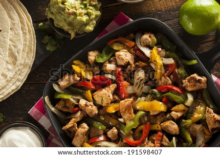 Homemade Chicken Fajitas with Vegetables and Tortillas #191598407