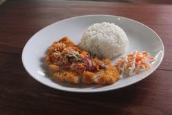 Homemade Chicken Katsu Rice with Sambal Matah