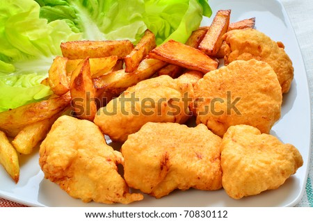 Homemade chicken nuggets - stock photo