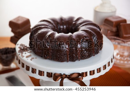 Homemade chocolate cake fresh baked candy bars ingredients beautiful decoration table