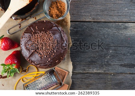 homemade chocolate cake recipe border background from above