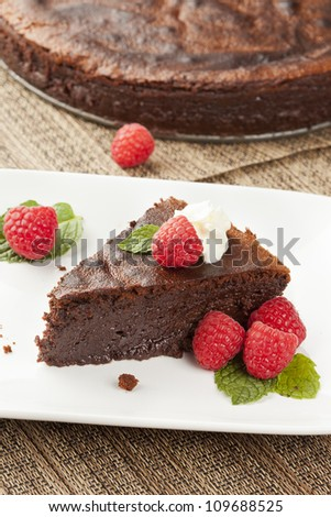 Homemade Chocolate Cake with raspberry and mint - stock photo