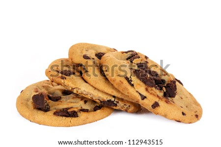 homemade chocolate chip cokies isolated on white background