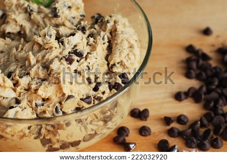 Homemade Chocolate Chip Cookie Dough in mixing bowl prepare for bake.  Stock photo ©