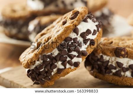 Homemade Chocolate Chip Cookie Ice Cream Sandiwch