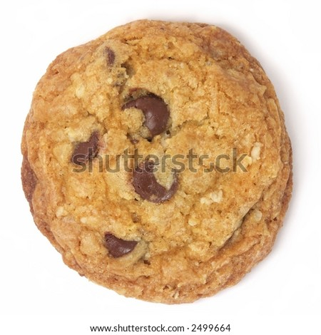 Homemade chocolate chip cookie isolated on white.
