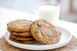 Homemade chocolate chip soft cookies on white plate with milk glass.
