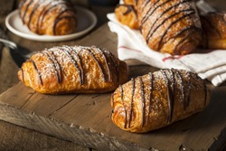 Homemade Chocolate Croissant Pastry with Powdered Sugar
