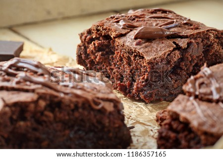 Homemade chocolate fudge brownie cut in pieces