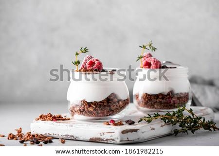homemade chocolate granola with yoghurt and fresh berries, close-up Stock photo ©