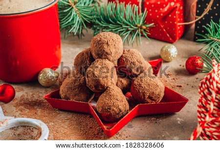 Homemade chocolate truffles candy ball on a christmas background. Selective focus Сток-фото ©