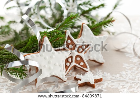 Homemade Christmas cookie stars with decoration