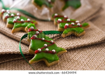 Homemade Christmas cookie tree with decoration