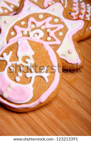 Homemade Christmas cookies decorated with colored icing
