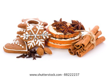 Homemade Christmas cookies - gingerbread with spices