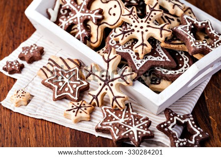Homemade christmas cookies on wooden table #330284201