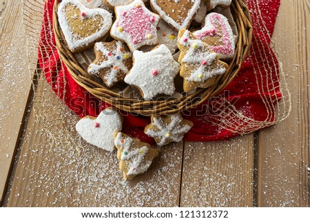 stock photo : Homemade christmas cookies with decoration on wooden table