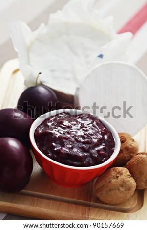 homemade chutney plum with cheese - food and drink