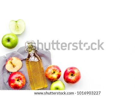 Homemade cider from ripe apples. White background top view copy space
