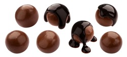 Homemade cocoa balls, dragee with melted chocolate. Whole isolated candies set. Luxury sweets with shiny brown icing on white background. Tasty gourmet confectionery collection