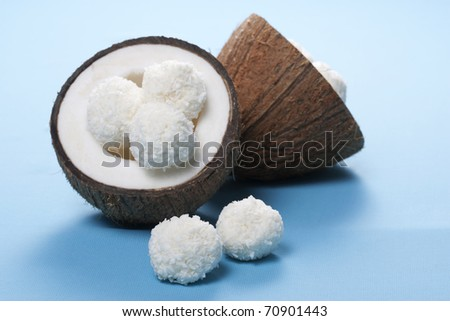 Homemade coconut sweets and fresh coconut