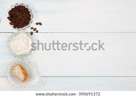 Homemade coffee scrub with, honey , yogurt #390691372