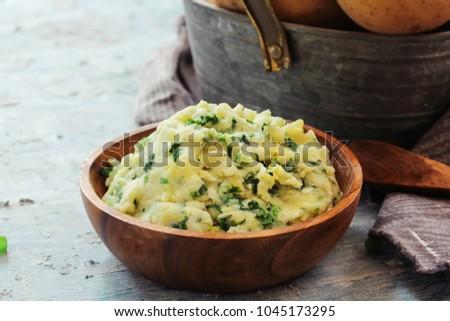 Homemade Colcannon / Irish Mashed Potatoes St Patrick day food, selective focus