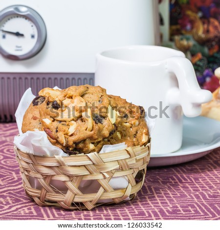 Homemade cookie in the bamboo basket